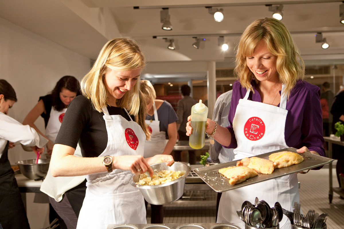 90 minute Cooking Class with Wine for Two at L'atelier des Chefs