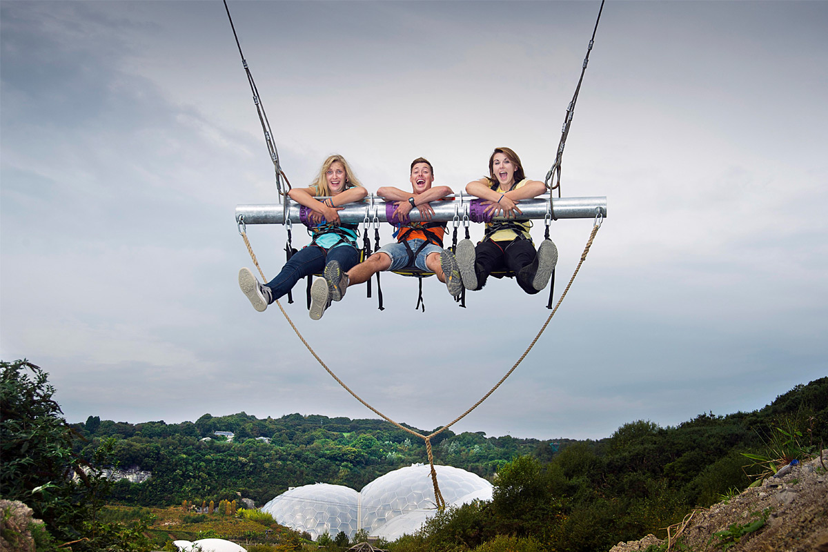 Hangloose at The Eden Project - Zip Wire, Giant Swing, Vertigo 360, Big Air and The Drop