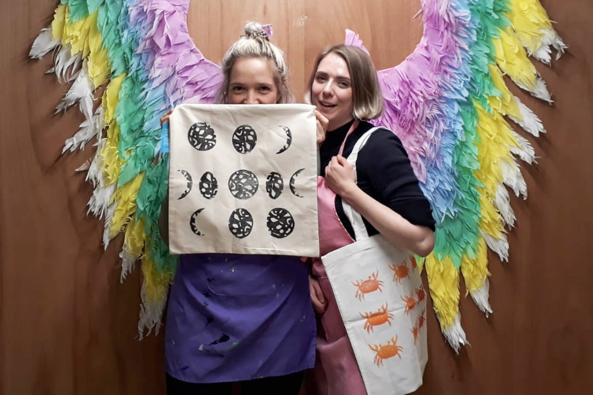 Make your Own Lino Printed Tote Bag or T-Towel Creative Workshop for Two