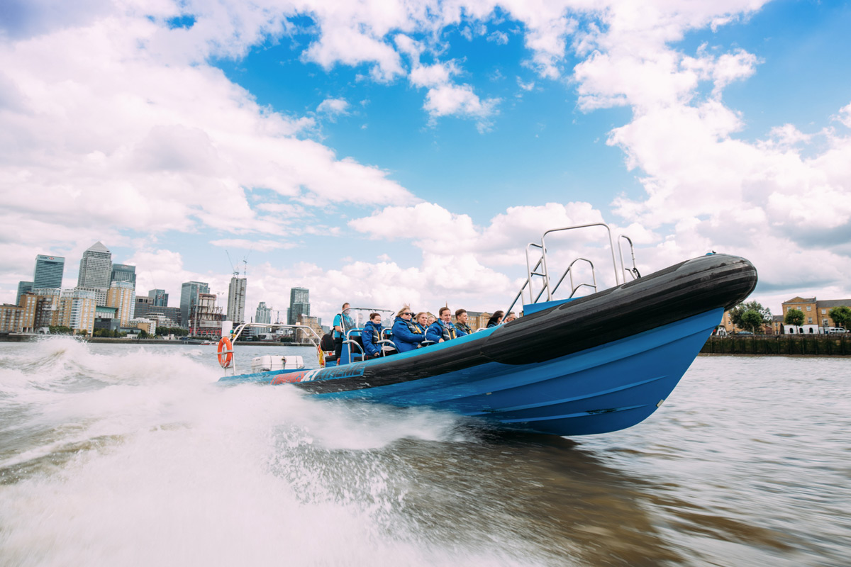 Thames Jet Boat Rush for Two and Interactive Pan-Asian Eight Dish Sharing Menu with Fizz for Two at Inamo, London