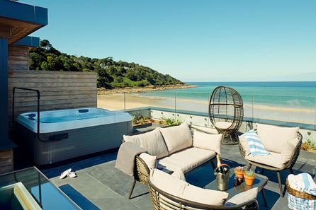 One Night Escape in a Luxury Beach Lodge with Hot Tub at the Carbis Bay Hotel & Estate, St Ives